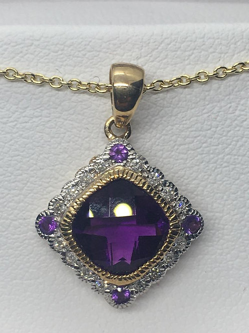 9ct Diamond Amethyst Necklace