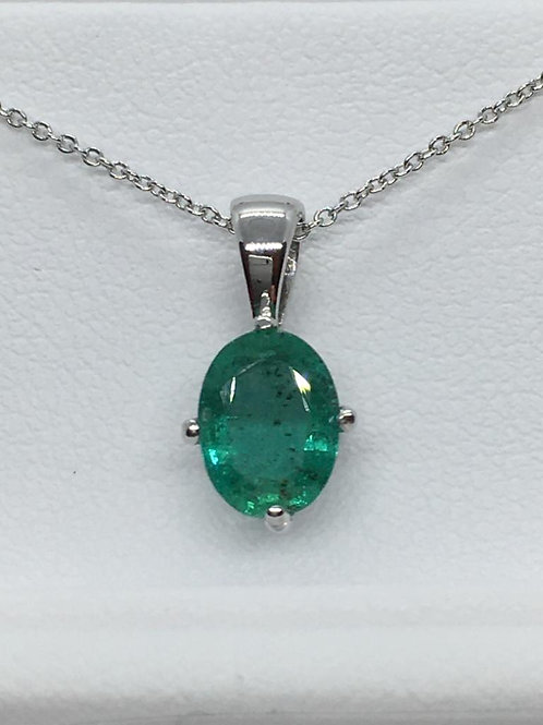 18ct White Gold Emerald Necklace
