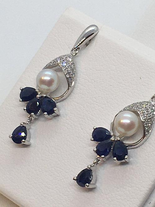 14ct White Gold Sapphire Diamond Pearl Earring