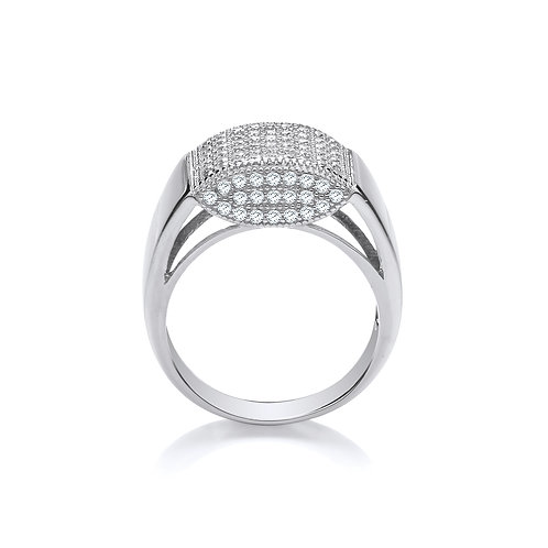 Silver CZ Gents Ring