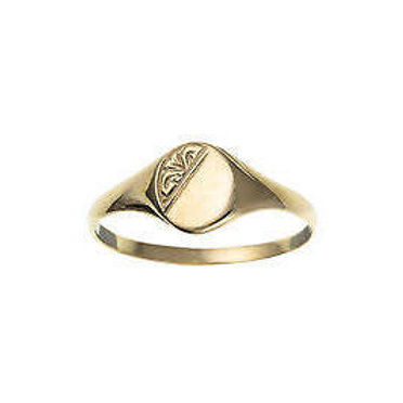 9ct Yellow Gold Half Engraved Oval Signet