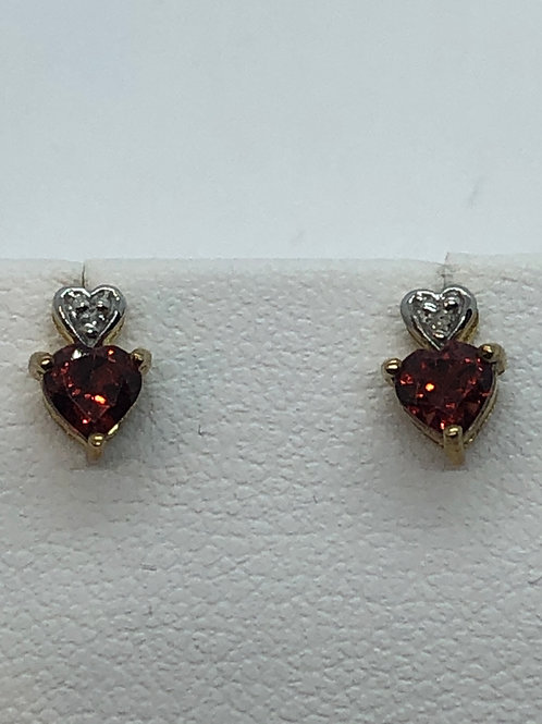 9ct Yellow Gold Garnet Diamond Earrings