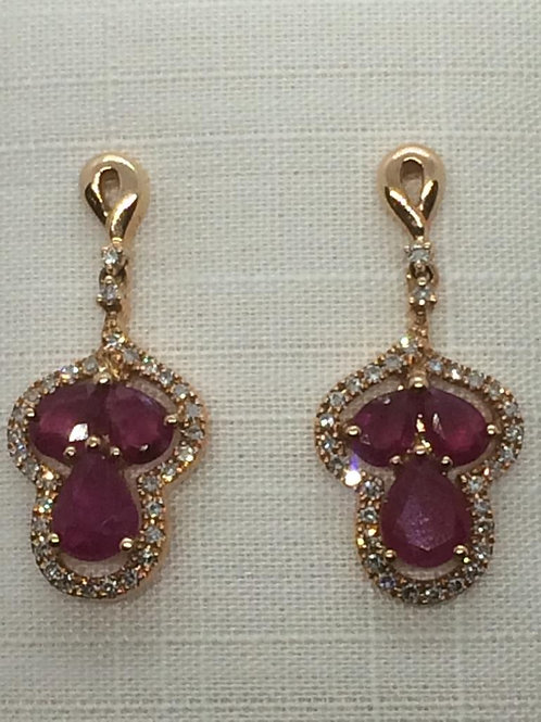 14ct Yellow Gold-Diamond Ruby Earrings