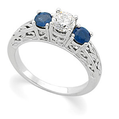 GOLD DIAMOND SAPPHIRE ENGAGEMENT RING