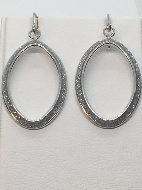 9ct White Gold Glitter Earrings