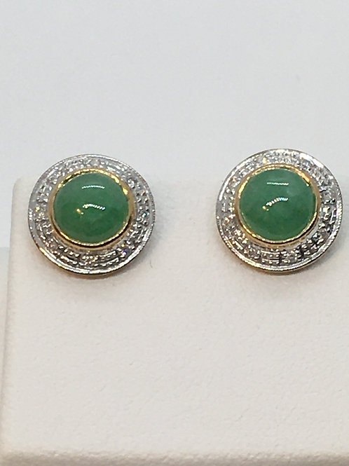 9ct Yellow Gold Jade Diamond Earrings