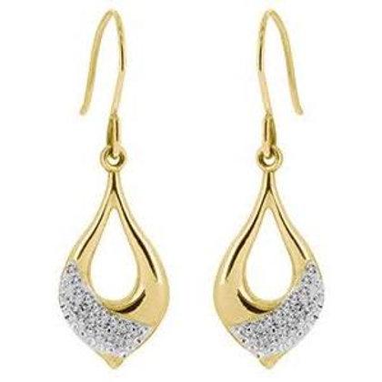 9ct Yellow Crystal Drop Earrings Embossed