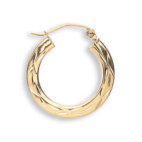 9ct Yellow Gold D/C hoop Earrings
