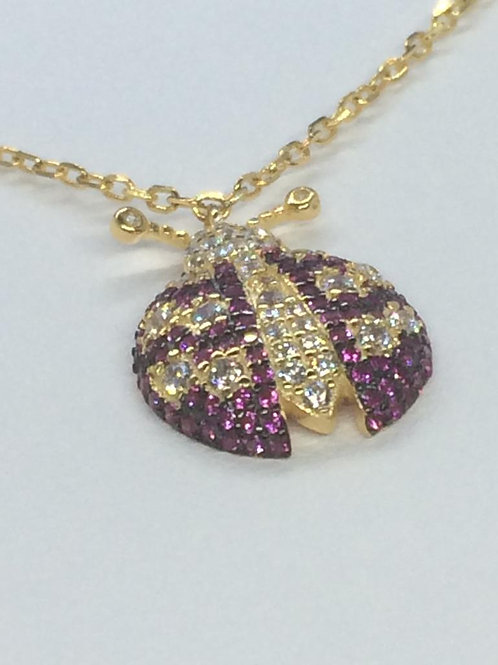 Sterling Silver Gold Plated Ladybird Necklace