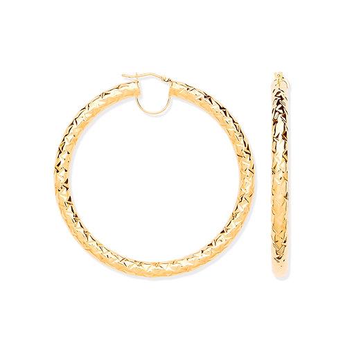 9ct yellow Gold 6.0cm D/Cut Hoop earrings