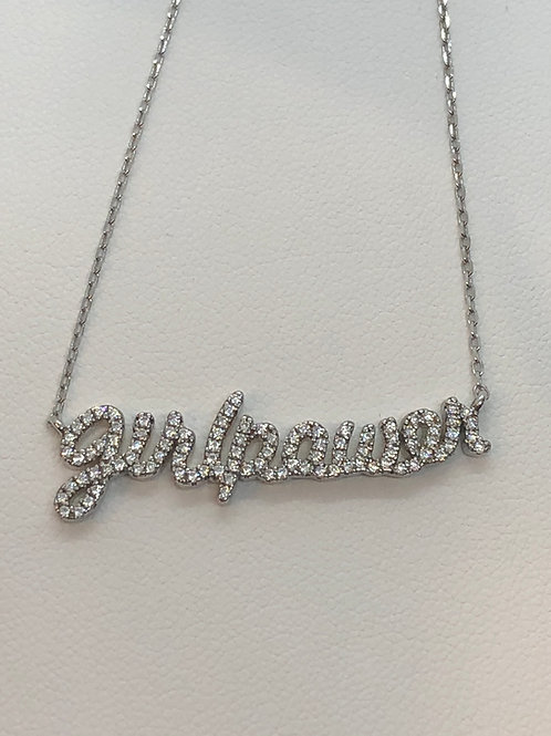 Sterling Silver GIRLPOWER Cubic Zirconia Necklace
