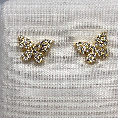 Sterling Silver Gold plated Butterfly Earrings