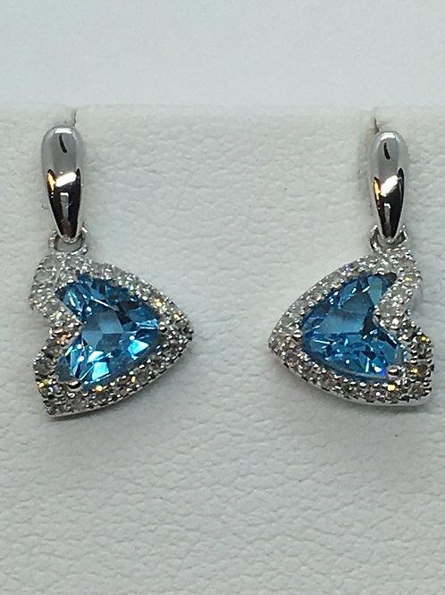 9ct Diamond Blue Topaz Earrings