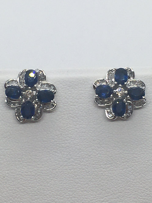 18ct White Gold Diamond Sapphire Earrings
