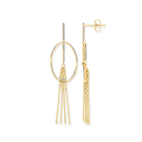 9ct yellow Gold Oval tube Tassel Earrings