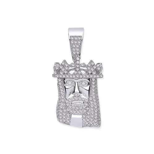 Silver CZ Jesus Pendant