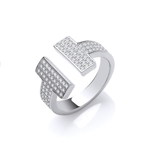 Silver T-Bar CZ Ring