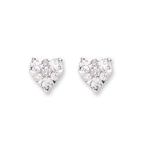 18ct White Gold  0.50ct Heart Diamond Stud Earrings