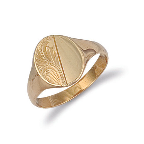 9ct yellow Gold oval signet ring