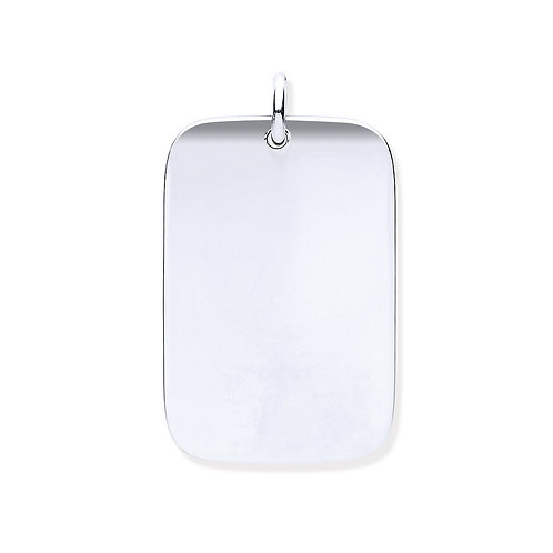 Silver solidDog tag Pendant