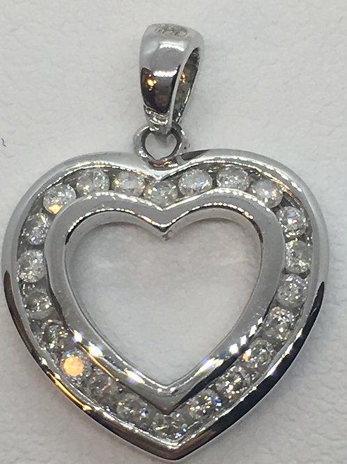 14ct White Gold Diamond Pendant