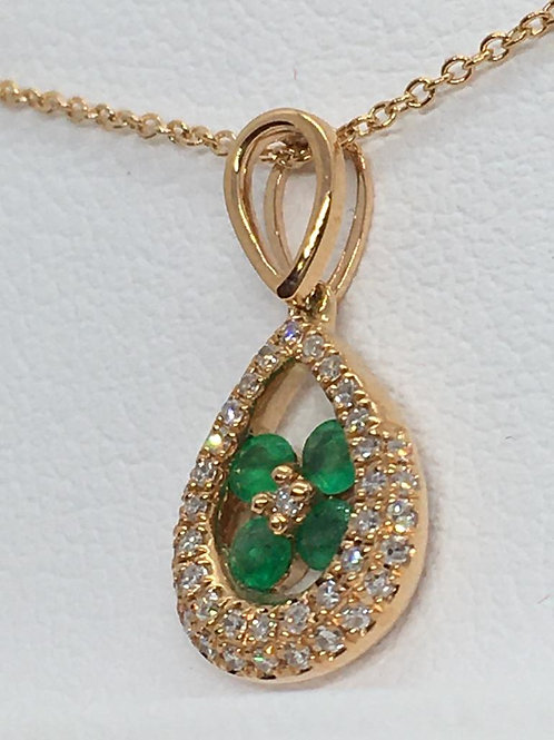 14ct Yellow Gold Emerald-Diamond Necklace