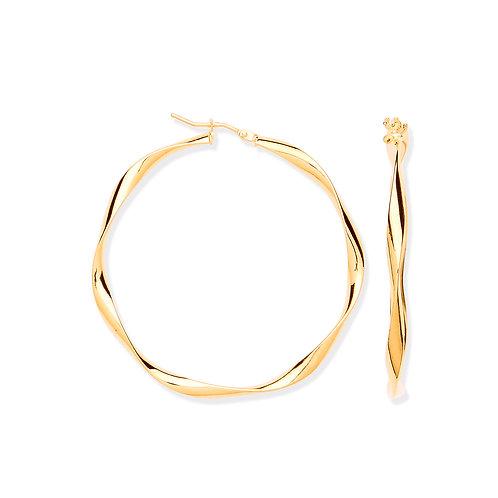 9ct yellow Gold 4.5cm Twist hoop Earrings