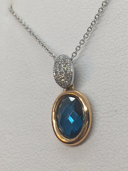14ct Diamond Blue Topaz Necklace