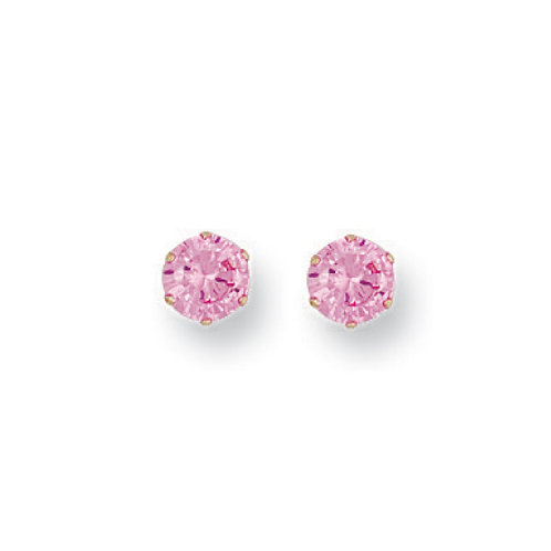9ct yellow gold 5mm Pink studs