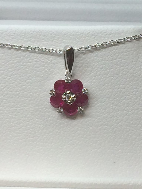 14ct White Gold Ruby-Diamond Necklace