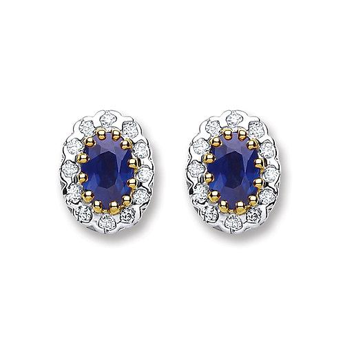 9ct yellow Gold Diamond 0.20 & Sapphire Studs
