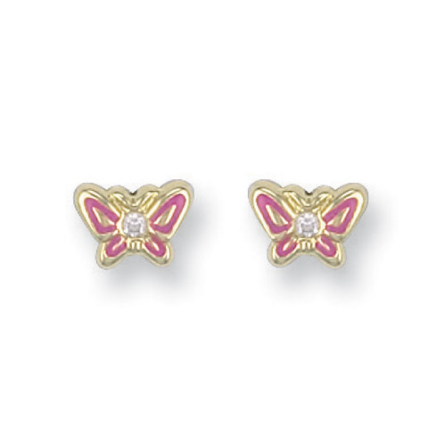 9ct yellow Gold Enamelled pink Butterfly Studs
