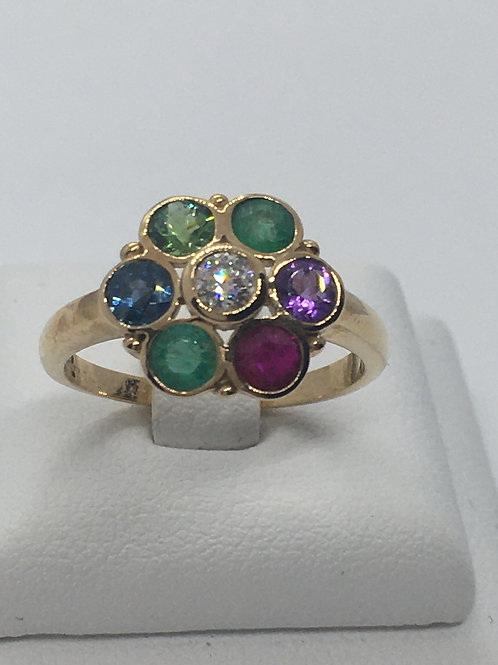 9ct Yellow Gold Diamond Emerald Ruby Amethyst Sapphire Ring