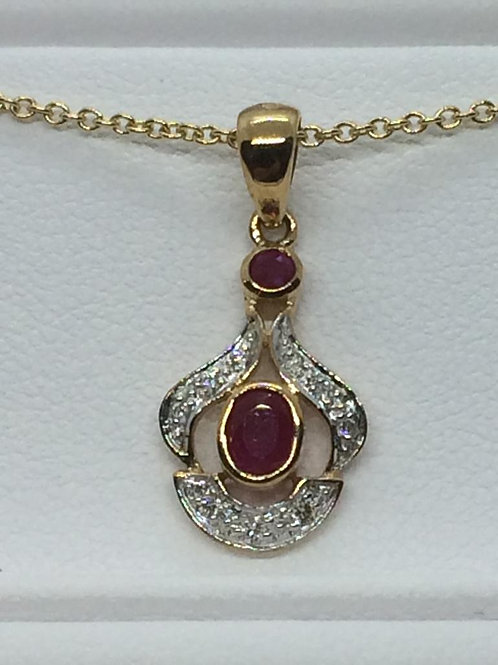 14ct Yellow Gold Ruby -Diamond Necklace