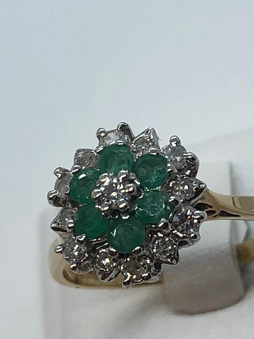 9ct yellow gold Diamond Emerald Ring