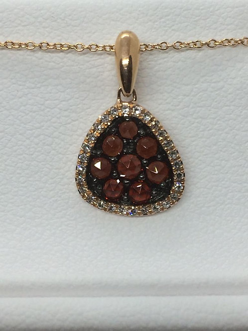 14ct Yellow Gold Diamond-Garnet Necklace