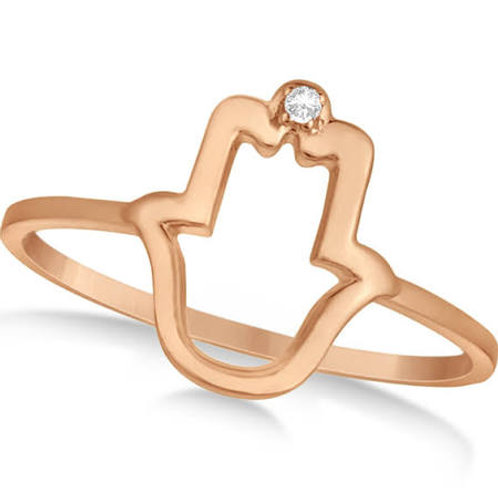 Hand Ring with Diamond Accent for 9ct Rose Gold