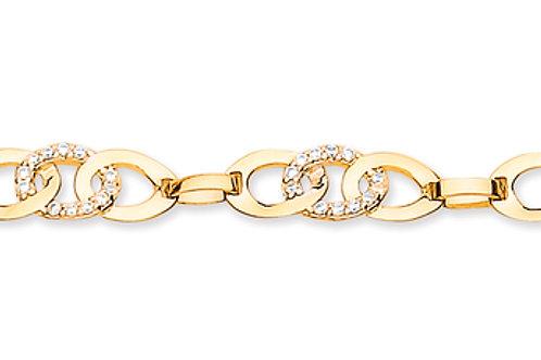9ct Gold link CZ Bracelet