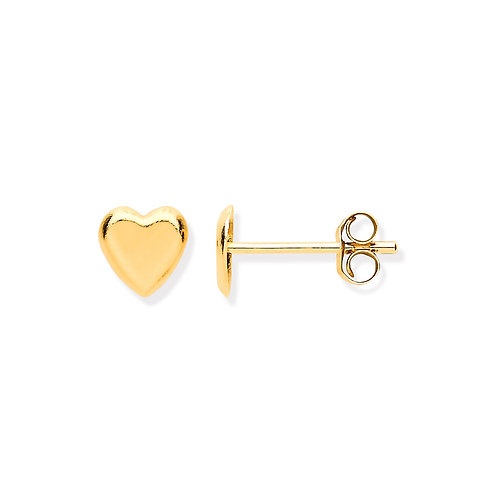 9ct yellow Gold Tiny Heart Stud Earrings