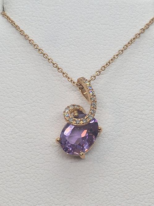 14ct Rose Gold Diamond Amethyst Necklace