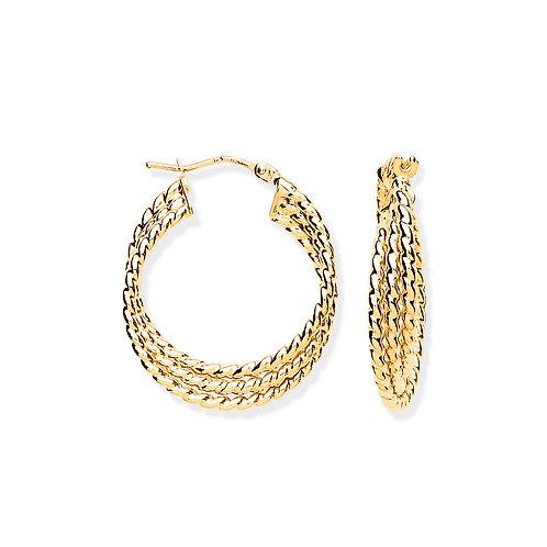 9ct yellow Gold Ribbed hoop Earrings