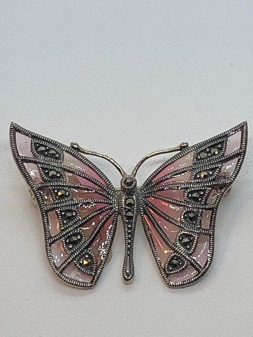 Sterling Silver Marcasite Butterfly Brooch