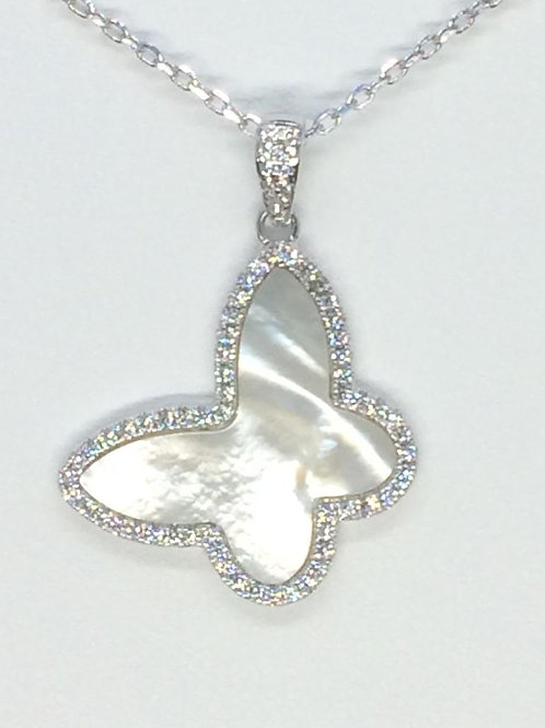 Sterling Silver 925 Mother of Pearl Butterfly Necklace