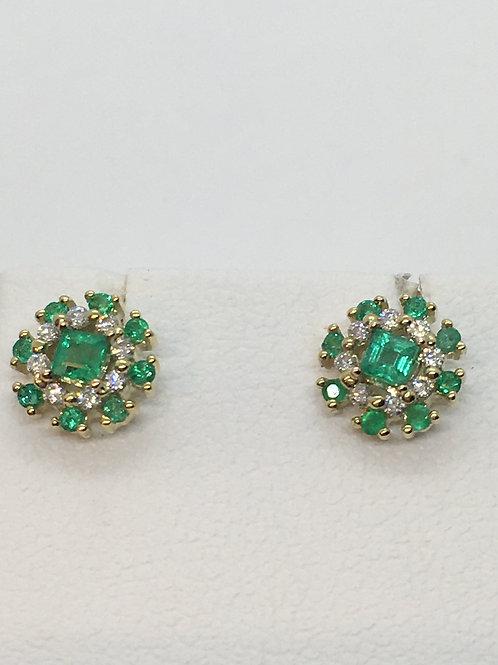 9ct Yellow Gold Emerald Diamond Earrings