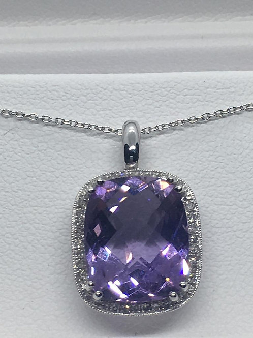 14ct White Gold Diamond  Amethyst Necklace