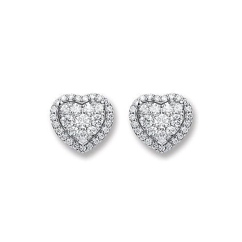 18ct White Gold  0.45ct Heart Diamond Stud Earrings