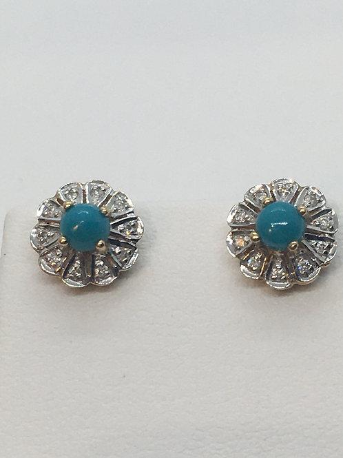 9ct yellow Gold Turquoise Diamond Earrings