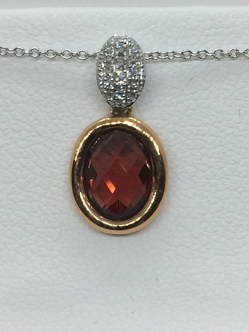 14ct Yellow Gold Garnet Diamond Necklace