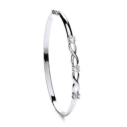 9ct White gold CZ bangle