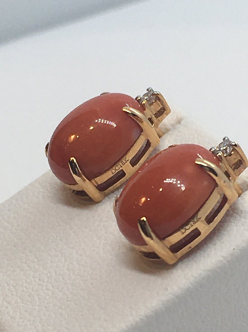 18ct Rose Gold Coral Diamond Earrings